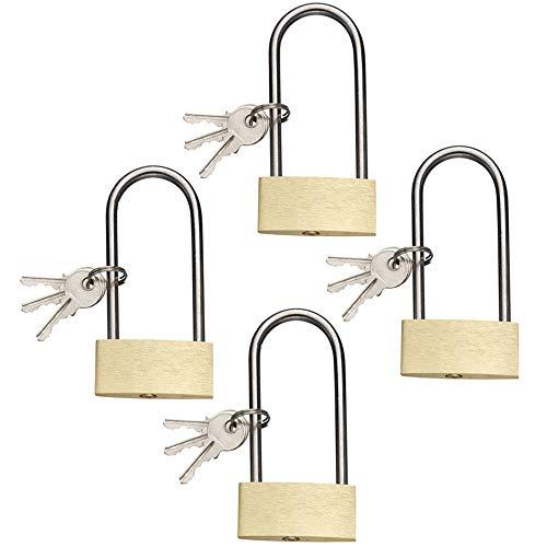 com-four® 4X Vorhängeschloss aus Messing mit langem Bügel, Hochbügel-Schloss mit je 3 Schlüsseln, 50 mm (04 Stück)