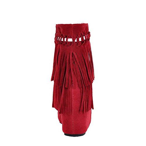 AgooLar Damen Mitte-Spitze Rein Ziehen auf Hoher Absatz Stiefel, Schwarz, 36