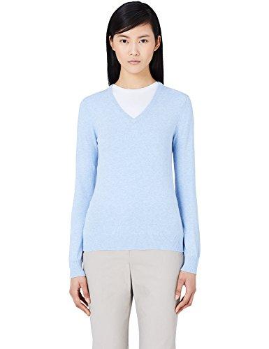 MERAKI Baumwoll-Pullover Damen mit V-Ausschnitt, Blau (Ocean Blue), 40 (Herstellergröße: Large) (Ocean Blue Bekleidung)