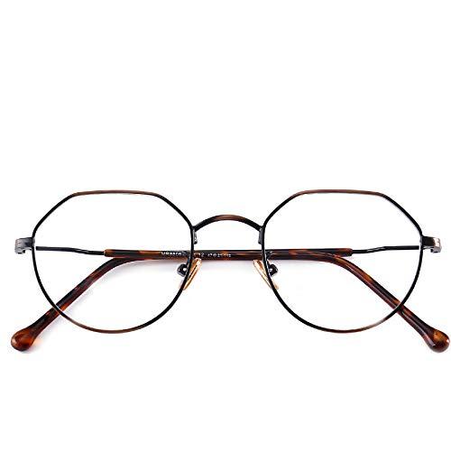 Yangjing-hl Trend Männer und Frauen unregelmäßigen Brillengestell Retro Metall Brillengestell Retro Kunst Flachspiegel Leopardengestell -