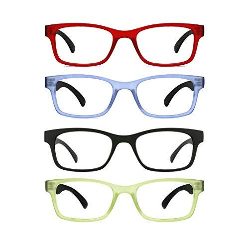Glas 3-licht-arc (TIJN Lesebrillen Herren Damen 4 Stueck Federn-Scharnier Brillen Lesehilfe Sehhilfe Arbeitsplatzbrille (+1.5))