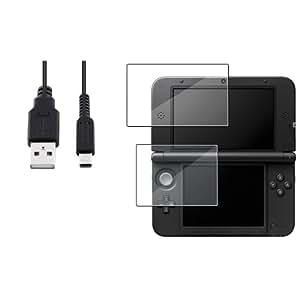 USB Cable Chargeur+Anti-rayure Film Protection Haut&Bas Pour NINTENDO 3DS XL LL