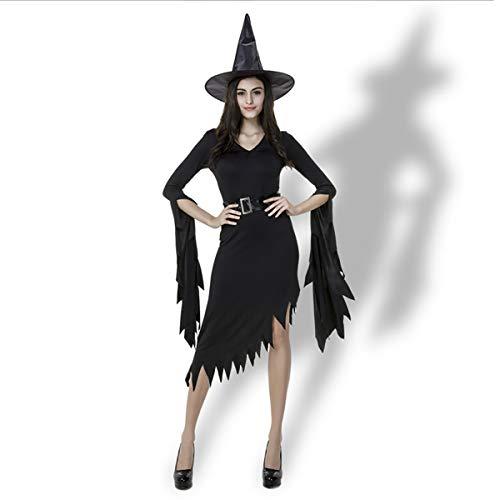 W&TT Halloween Hexe Kostüm, Schwarze Unregelmäßige Nun Hexe Schwarzes Kleid Mit Hut + ()