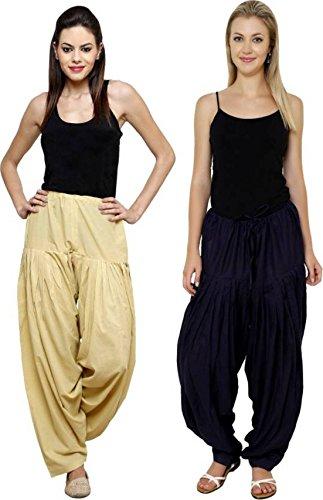 I Shop Traditional Patiala Salwar 100% Cotton Free Size COMBO-02(BLK_BEIGE)