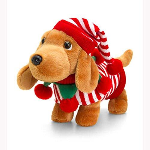 Keel Toys Douggie der Dackel im gestreiften Elf Kostüm (Einheitsgröße) (Braun) (Baby Dackel Kostüm)