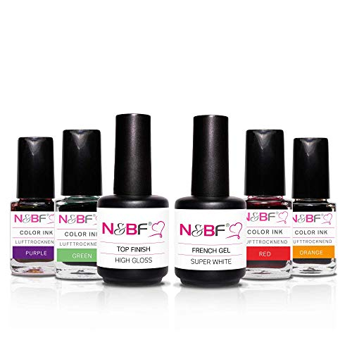 N&BF Color Ink Nagellack Starterset Rainbow | 6 Marmor-Effekt Lacke im Regenbogen-Farben Spar Set | Aquarell Nail Polish - 4x 12ml Color Ink + Top Finish + French Gel -