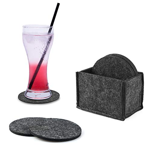 HOGAR AMO Filz Untersetzer 12er Pack inkl Box Getränke/Glas Untersetzer für Tisch und Bar 10cmØ Rund Filz Platzdeckchen Waschbarer Glasuntersetzer Dunkelgrau - Becher-hitze-presse