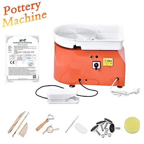 HUKOER orange elektrische töpferscheibe, 350 watt 25 cm töpferscheibe formmaschine DIY ton Werkzeug mit fußpedale und abnehmbare waschbecken, mit 8 stücke ton Messer Set (ce Zertifiziert)