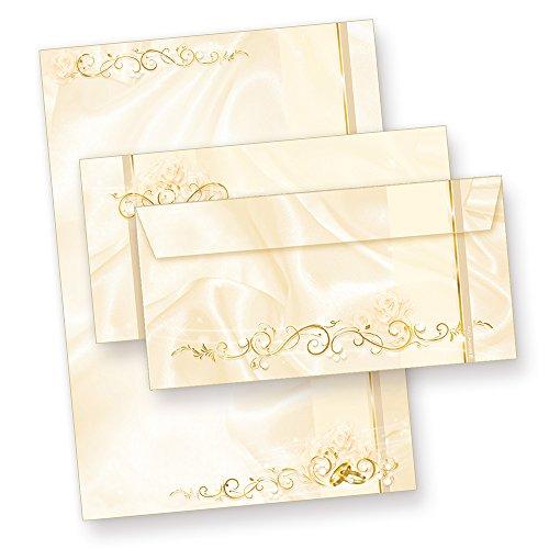 TATMOTIVE Perlmutt Hochzeit DIN A4   90g   beidseitig   Motivbriefpapier mit Umschläge 25 Sets Art. 05-0073-0090-00050