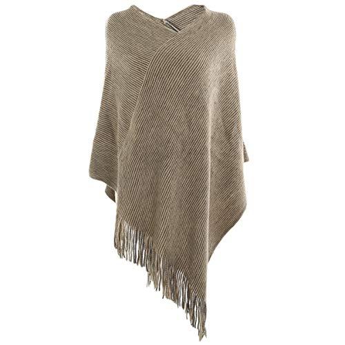 Vbiger Damen Strick Poncho Warm Schal Weich Stolen Wickel Decke Poncho Cape Stilvoll Fransen Schal Pullover, Khaki