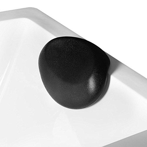 AQUADE Nackenkissen Nackenpolster Badewannenkissen Wannenkissen Kissen Badewanne Kopfkissen Nackenstütze Entspannungskissen Kopfpolster Saugnapf Schwarz 24,5cm x 18cm Modell: 6171