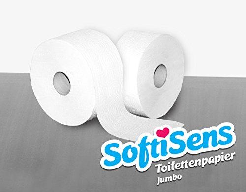 12 Rollen Mini Jumbo Toilettenpapier, Klopapier, WC-Papier 2 lagig hochweiß 140m - Jumbo-rollen