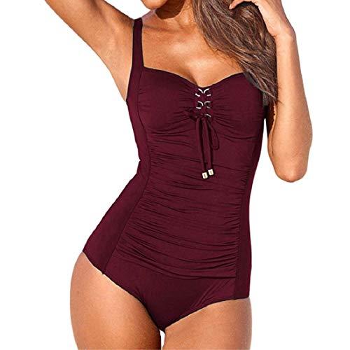 HULKY Vendita di Liquidazione Donne Vintage Halter Costume da Bagno Monokini Un Pezzo Costumi da Bagno per Le Donne(Vino,Medium)