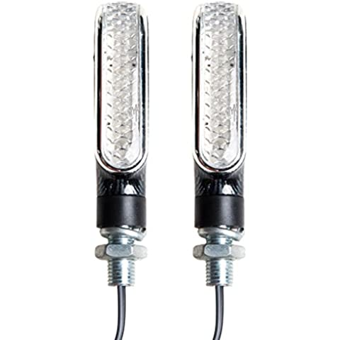 TDH Universal 10 LED Lights 2pcs Lente Clara Motocicleta Señales Indicadores Blinkers, Carbon Look