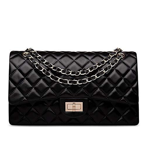 Belle Vannes Damen Designer Gesteppte Schultertasche aus 100% Echtleder mit Kette Tasche Umhaengetasche Damentaschen Handtasche (Mittel, Schwarz) -
