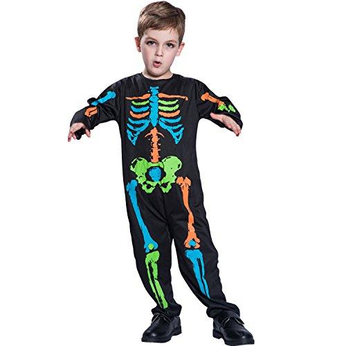 (Boodtag Halloween Kostüm Skelett für Kinder Faschingskostüm Karnevalkostüm Gruseliges Skelett Overall Horror Party)
