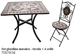 Struttura in Acciaio 2 Sedie Jago Tavolo e Sedie Mosaico Set Mobili da Esterno Set Rotondo o Quadrato Tavolino e Sedie da Balcone in Ceramica Modello a Scelta Giardino