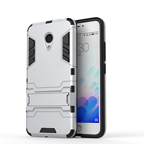 Chevron Back Cover Case for Meizu m3 Note (Silver) [Military Grade Version 2.0 with Kick Stand Hybrid Back Cover Case]