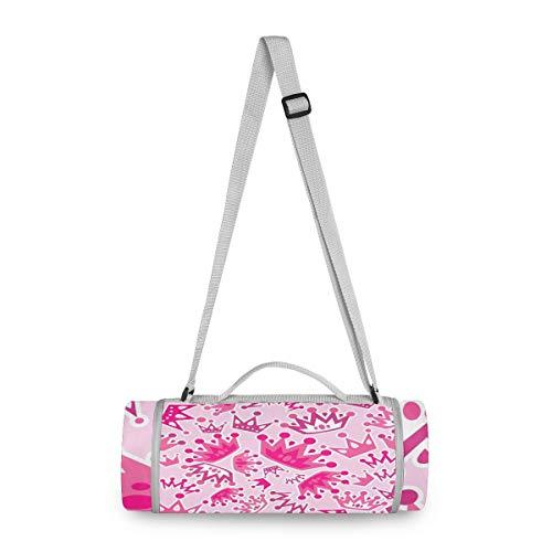 LORONA Pink Queen Crown Pattern Picknick-Decke - Wasserfeste Outdoor Decke rund - Extra Large 147,2 x 147,2 cm, übergroße Strandmatte für Reisen oder Camping