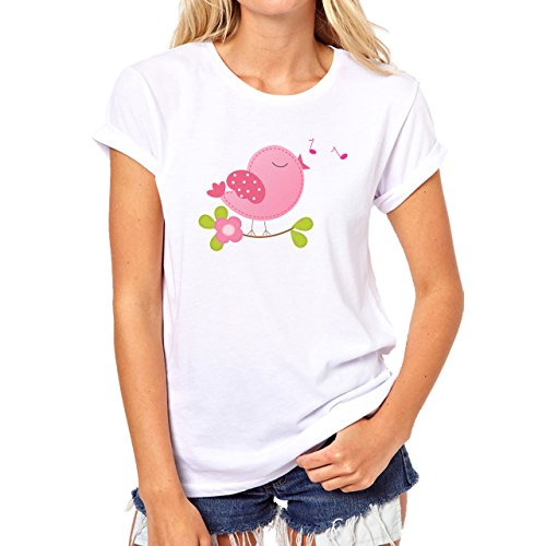 Bird Pretty Sweet Little Bird Singging Music Damen T-Shirt Weiß