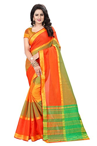 Ecolors Fab Women's Cotton Saree with Blouse Piece (Sayan_Kota_Saree) (Rama Green)