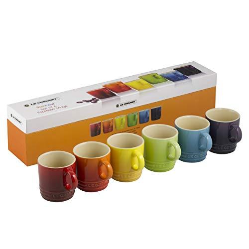 Le Creuset Steinzeug Espresso Becher, 6er Set, 100 ml, regenbogen