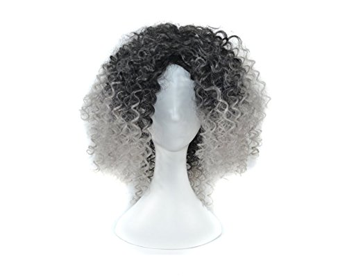 HorBous 40cm/15,7 Zoll Haar lockiges gewelltes volles Kopf-Halloween-Perücken Cosplay Kostüm-Partei-Haarteil graue Cosplay lockige Perücke für Frauen-Mädchen (Mädchen Mal Perücke)