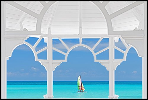 Art-Galerie Bild mit Rahmen Khandani 1 - PAVILLION VIEW TO THE CARRIBEAN SEA - VARADERO - CUBA 2 -...