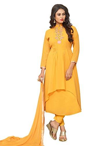 Ethnic Yard Semi-Stitched Free Size Faux Georgette Festive Wear Anarkali Salwar Kameez...