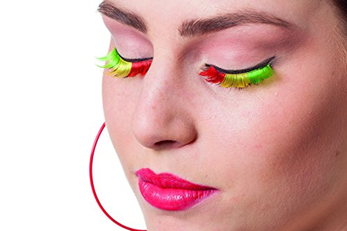 Künstliche Wimpern Rot/Gelb/Grün spitze (Spitze-gelbe Rote Spitze)