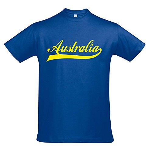 T-Shirt - Australia Oldschool Australien LÄNDERSHIRT EM / WM FAN Trikot S-XXL , Royal blue - gelb , XXL