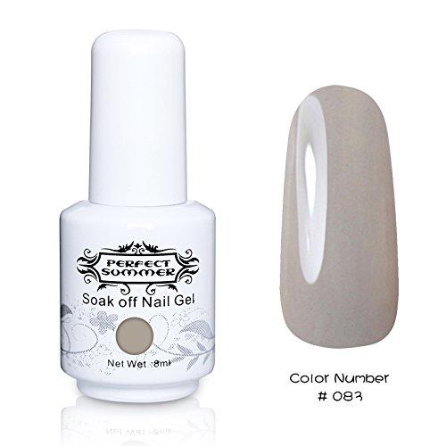 Perfect Summer 1pcs 8ml Vernis à Ongles Semi-Permanent UV LED Soak Off Gel Nail Polish -Gris Béton #83