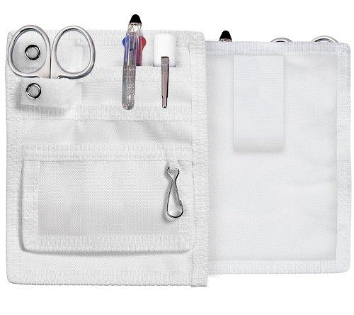 Portaoggetti clinico tascabile con set di strumenti: forbici tagliabende, 3 pennarelli colorati, penna luminosa usa e getta; ideale per infermiere, ostetriche, medici, operatori sanitari white