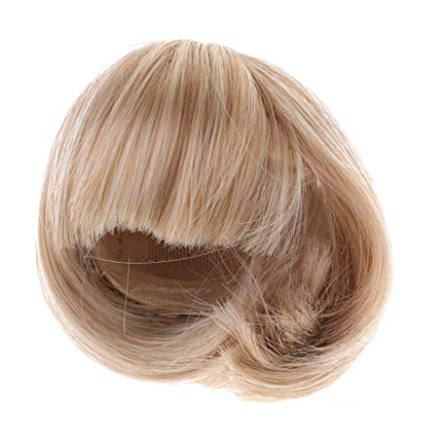 FLAMEER Mode Puppen Kurze Haar Bobo Frisur Perücke Haarteil Frisuren für 1/4 BJD Puppe DIY Zubehör - Khaki (18-zoll-puppen Haare, Blonde)