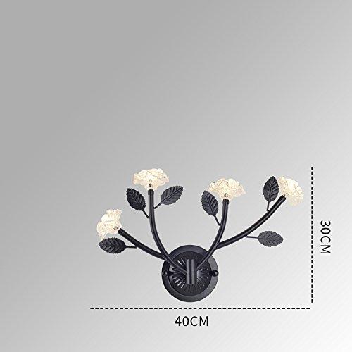 Schwarz Vier-licht Kronleuchter (DHG Skandinavische postmoderne Nachttischschlafzimmerbeleuchtung, Minimalistische Treppenhausganglichter des Wohnzimmers Beleuchtet, Kreative Baumglasblumen-Wandlampe,schwarz,4 Köpfe)