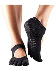 1 Paire Bella Toe complet Organic Cotton Ouvrir avant Yoga Chaussettes de ToeSox Femmes en Noir