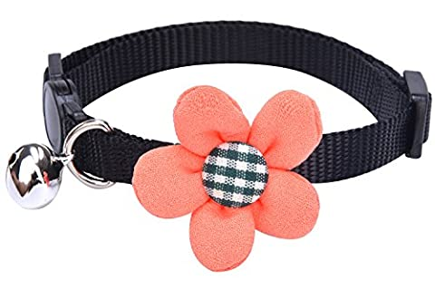 PUPTECK Designer Soft Adjustable Nylon Cat Breakaway Collar Kitty Puppy Dog Flower Necklace with Bell ,