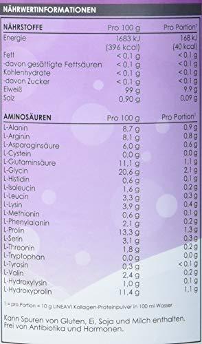 LINEAVI Kollagen Proteinpulver, 100% Kollagen Hydrolysat, für Bindegewebe, Gelenke und Muskeln, frei von Hormonen und Antibiotika, in Deutschland hergestellt, 410g Collagen