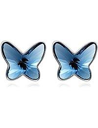 T400 Jewelers Pendientes cortos de mariposa con cristales Swarovski para Niñas Adolescentes Regalo para Seres Queridos