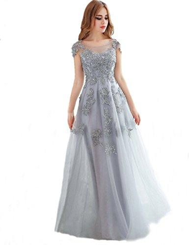 KAIDUN Damen Kleider Elegant Ärmellos Abendkleider Lang Abschlussball Silver Grey 48