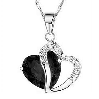 TINGSU Fashion Women Heart Crystal Rhinestone Silver Chain Pendant Necklace Jewelry (Black)