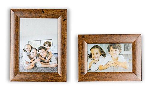 levandeo 2er Set Bilderrahmen Holz Optik Braun 10x15 und 13x18 Foto Rahmen Glasscheibe Portraitrahmen