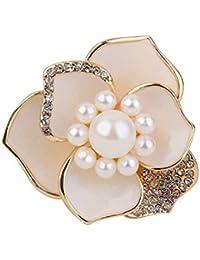 Ogquaton Bufanda de Seda Hebilla de Perla Aleación de Cristal Bufanda Hebilla en Forma de Flor Anillo de la Bufanda para la Ropa Bufanda Vestido de Noche Use 1PCS Blanco