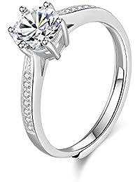 WHCREAT Anillo de plata de ley 925 para mujer, boda/compromiso anillo abierto ajustable de zirconia cúbica clásica