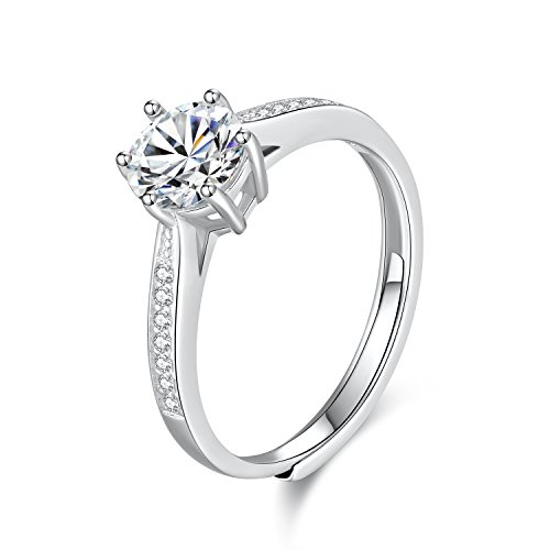 WHCREAT 925 Sterling Silver Ring for Women, Wedding/Engagement Classic Cubic Zirconia Adjustable Open Ring