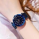 Beewanta Damenuhr Sternenhimmel Mädchenuhr Modetrend Wasserdichtes Premium Metallarmband Sternenhimmel Zifferblatt Diamant mit gut aussehendem Armband (Color : Blue)