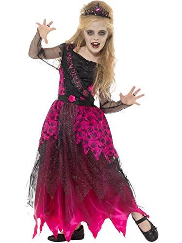(costumebakery - Mädchen Kinder Kostüm Zombie Ballkönigin Bakllkleid und Krone, Gothic Prom Queen Deluxe, perfekt für Halloween Karneval und Fasching, 122-134, Berry)