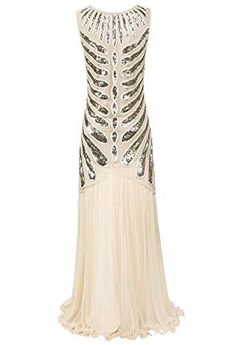Metme Frauen wilden 1920er Jahre Paisley Chiffon Flapper Gatsby lange Kleid für Abschlussball Champagne