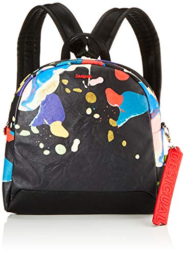 Desigual Damen Backpack Arty Cooper Venice Mini modischer Rucksack, Negro, Einheitsgröße