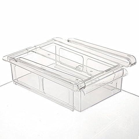 Tiroir Frigo ,Morbuy 1PC Boîtes de Rangement Frigo étagère de Cuisine Support de Rangement Glissez La Cuisine Réfrigérateur Congélateur Space Saver Organisateur Tiroir (Blanc